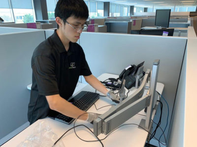 Staff Reconnecting Workstation In Office Move